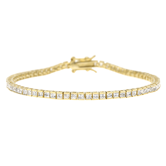 Petite Clear Cubic Zirconia Tennis Bracelet in Gold
