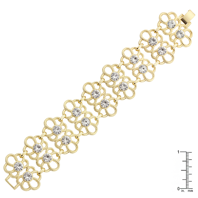 Gold Crystal Floral Fashion Bracelet
