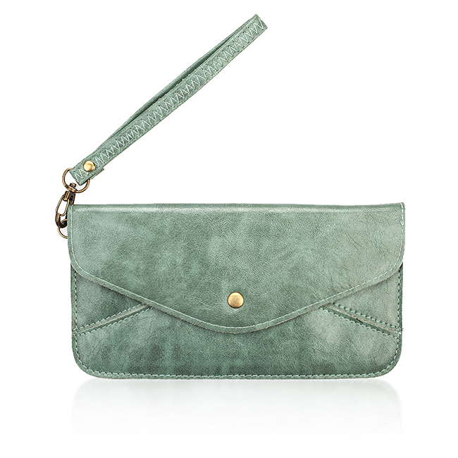 Teal Faux Leather Clutch