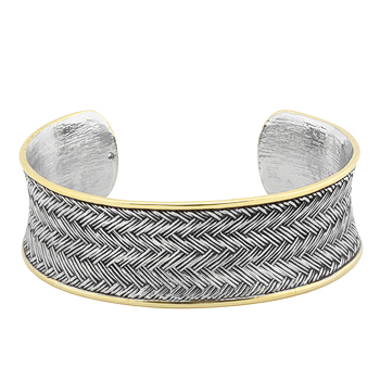 Two-tone Finish Weaved Bracelet Cuff