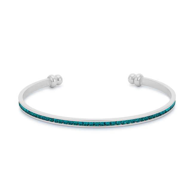 Channel-Set Turquoise Cubic Zirconia Cuff