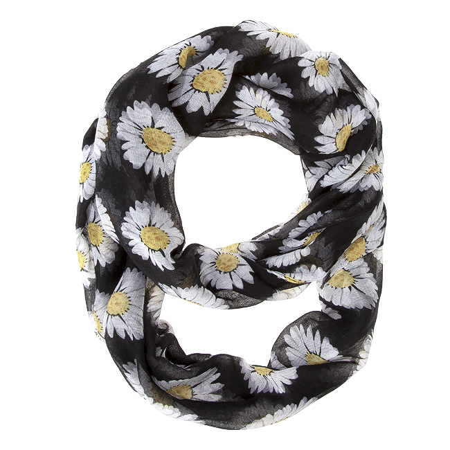 Sunflower Black Infinity Scarf