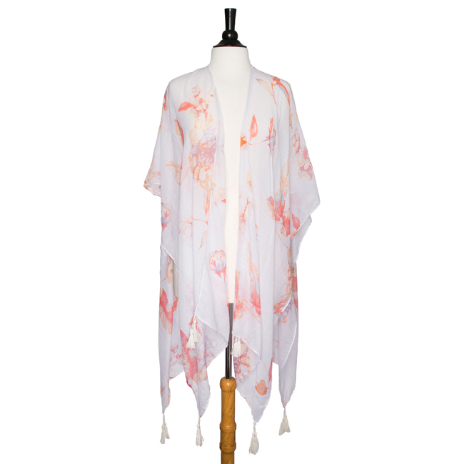 White Gloria Botanical Cover Up Shawl With Tassels