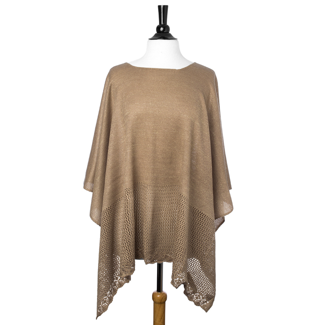 Taupe Lightweight Knitted Poncho