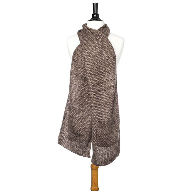 Taupe Hanna Knitted Pocket Scarf