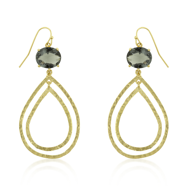 Textured Smokey CZ Teardrop Earrings