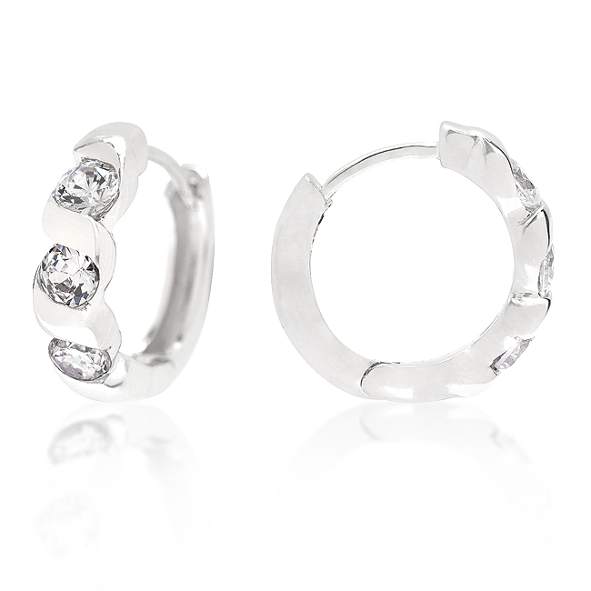 Triple Cubic Zirconia Hoops