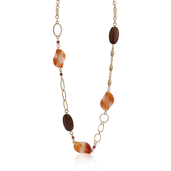 Gold Chain Necklace With Warm Colored Stones