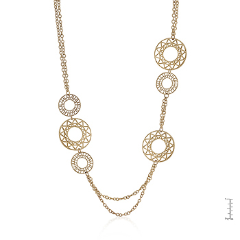 Vintage Filigree Circles Necklace in Goldtone Finish