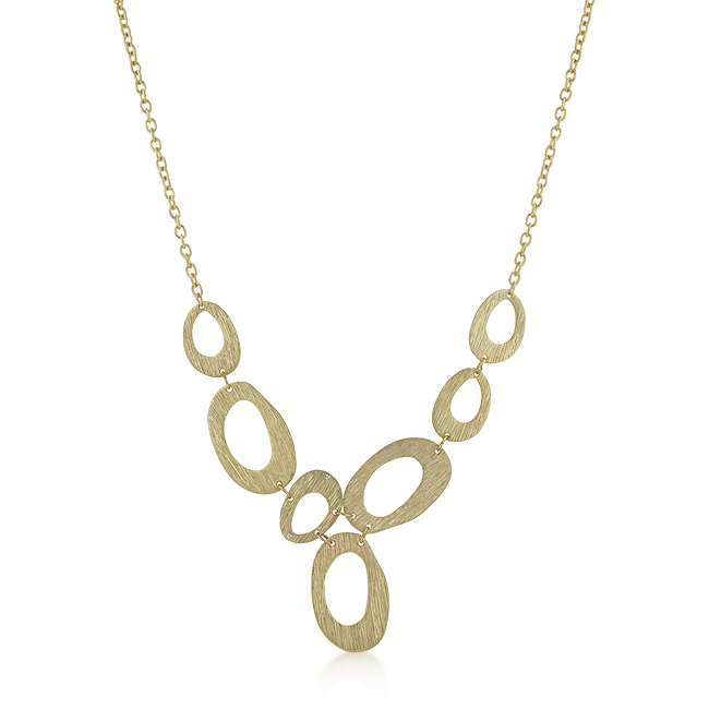 Textured Organic Necklace in Goldtone Finish