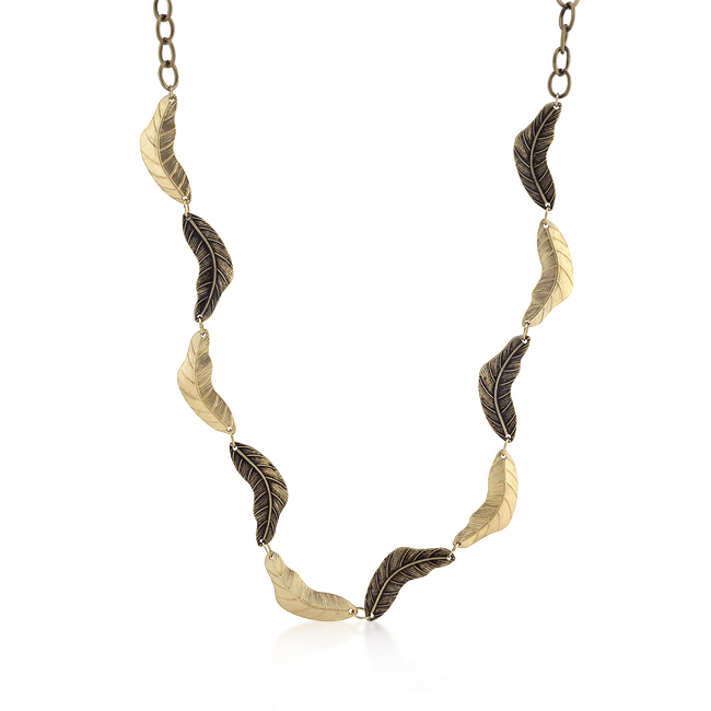 Vintage Leaf Two-tone Finish Necklace