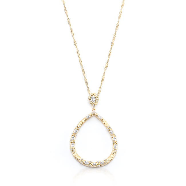 Golden Organic Cubic Zirconia Drop Necklace