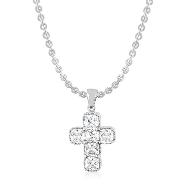 Silvertone Cross Necklace