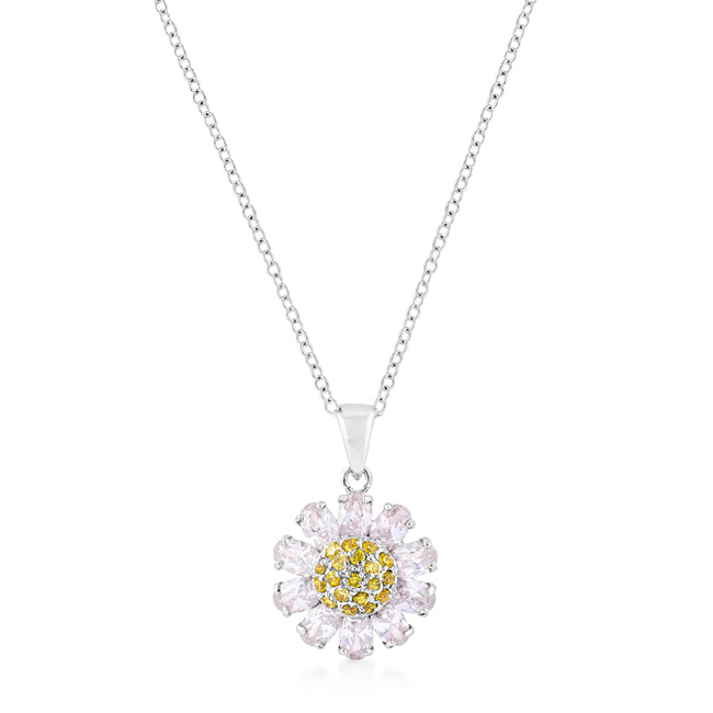 Silvertone Purple and Yellow Cubic Zirconia Floral Pendant