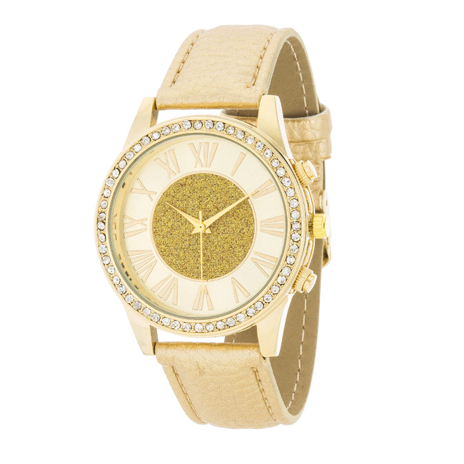 Shira Crystal Leather Watch With Gold Leather Strap
