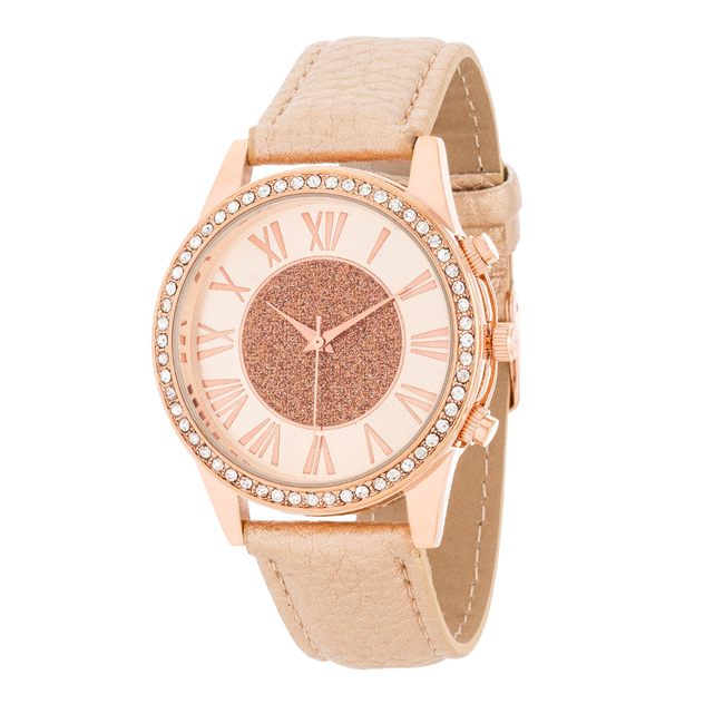 Shira Crystal Leather Watch With Rose Gold Leather Strap