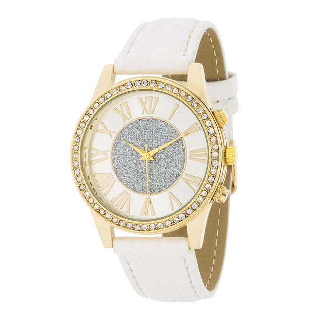Shira Crystal Leather Watch With White Leather Strap