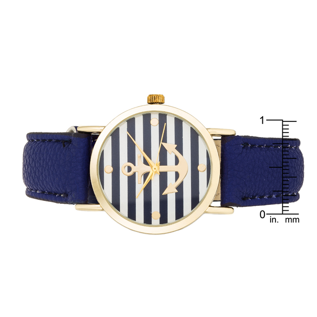 Navy Nautical Leather Watch #1