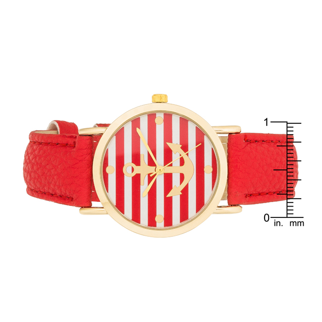 Nautical Red Leather Watch #1