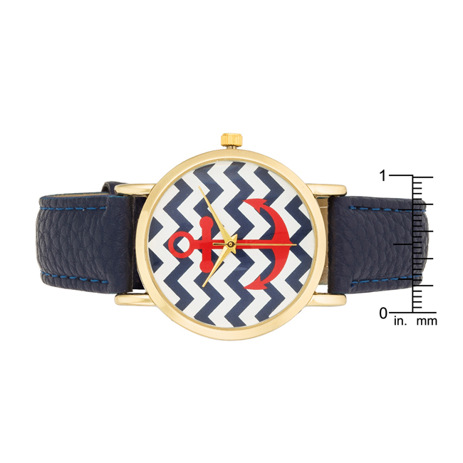 Navy Nautical Leather Watch #2