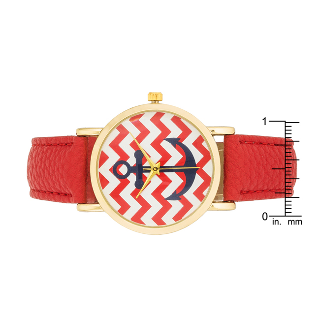 Nautical Red Leather Watch #2