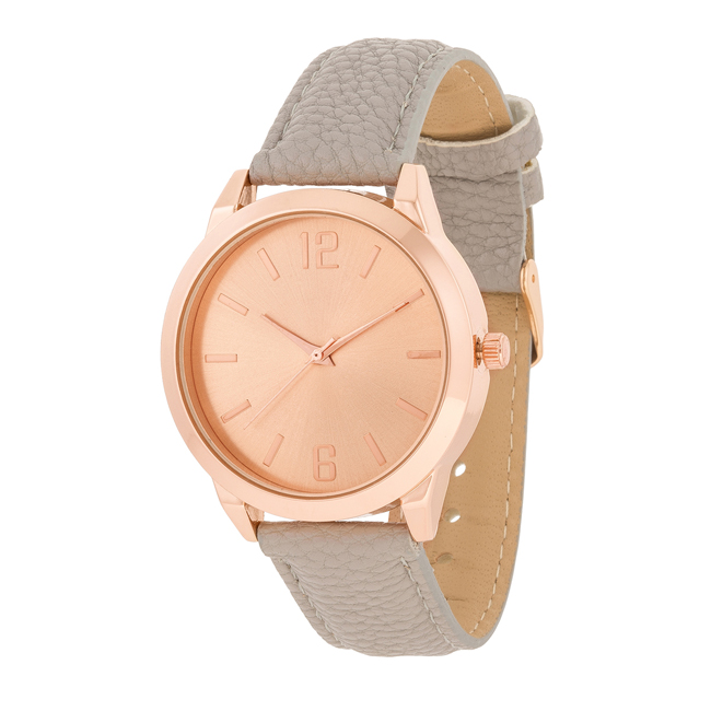 Rose Gold Grey Leather Watch