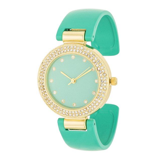 Mint Cuff Crystal Watch