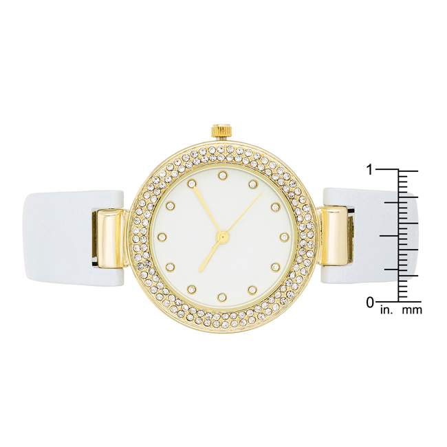 White Cuff Crystal Watch