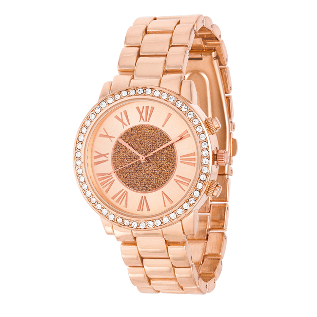 Roman Numeral Rose Gold Watch With Crystals