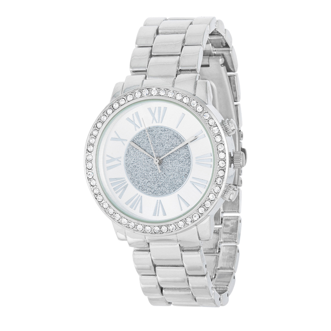 Roman Numeral Silvertone Watch With Crystals