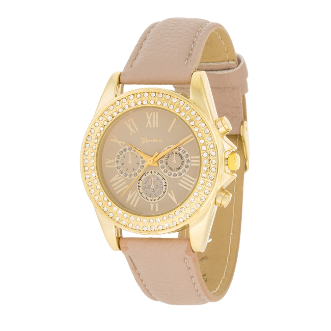 Taupe Leather Watch With Crystals