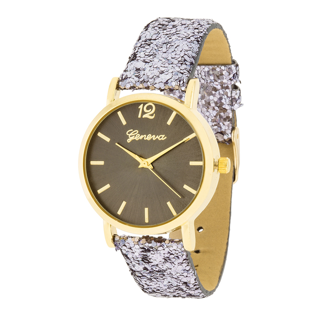 Gold Watch With Glitter Leather Strap Blue