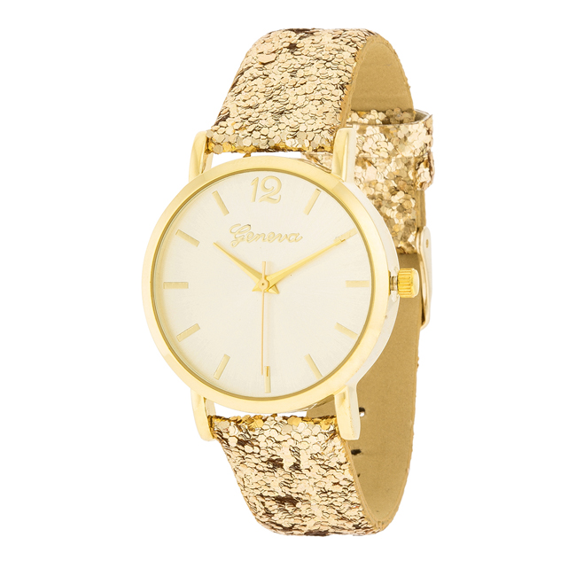 Gold Watch With Glitter Leather Strap Gold