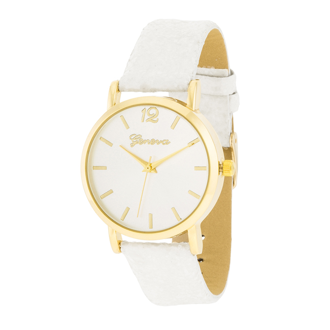 Gold Watch With Glitter Leather Strap White