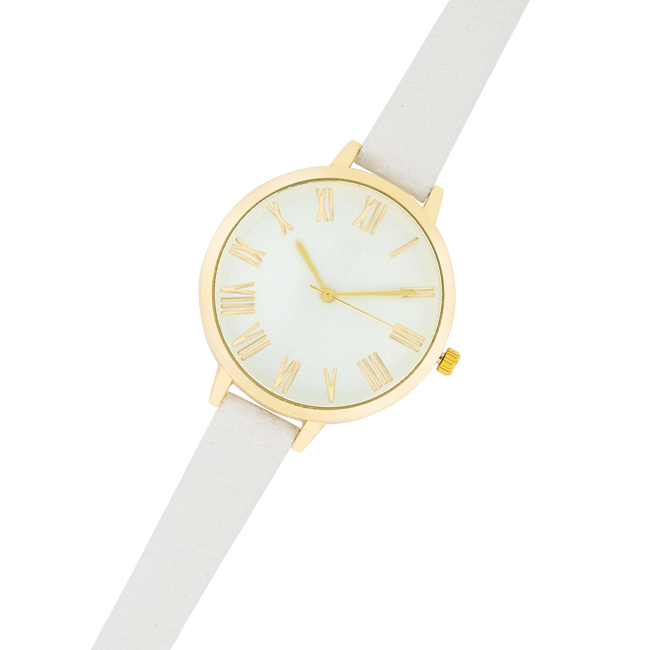 Gold Watch With White Leather Strap #1