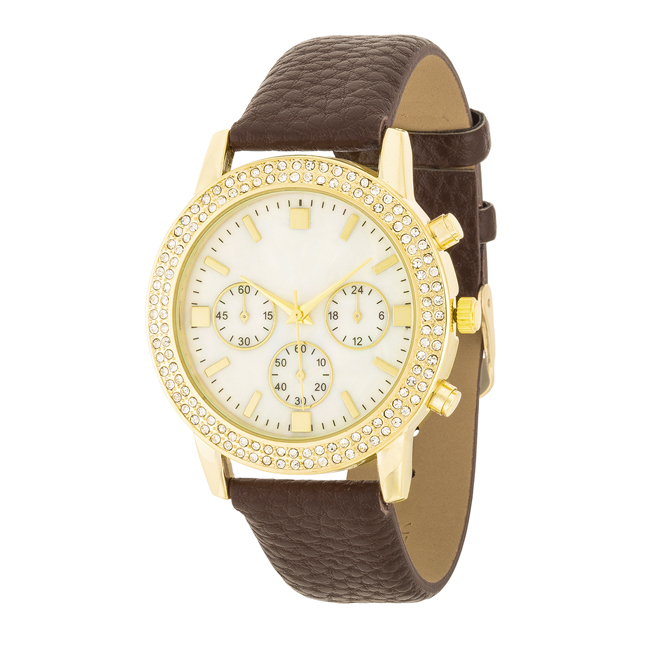Shell Pearl Dial Watch With Crystals Brown