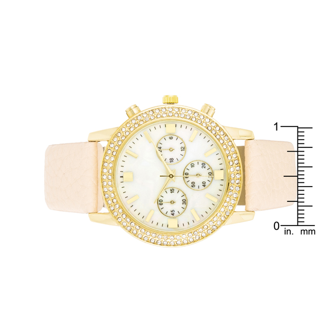 Shell Pearl Dial Watch With Crystals Cream