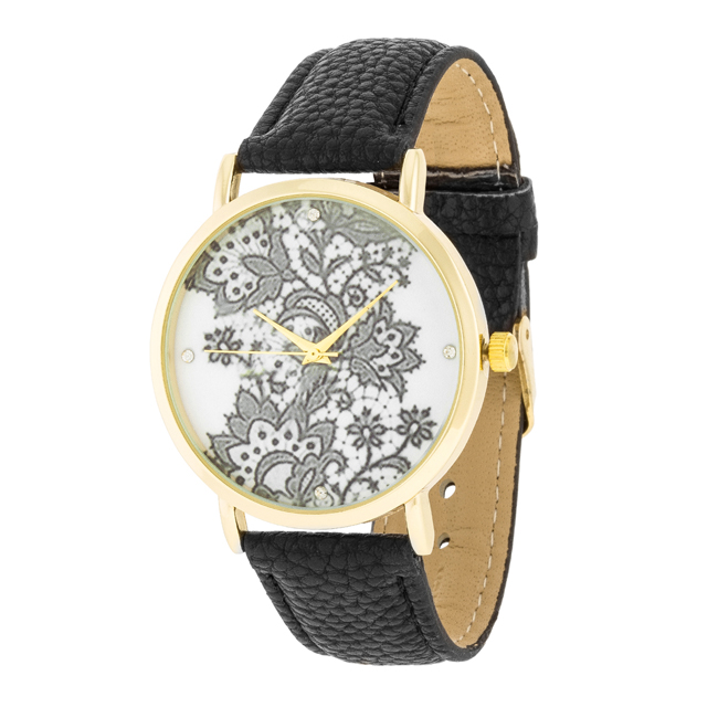 Gold Watch With Floral Print Dial Pink #2