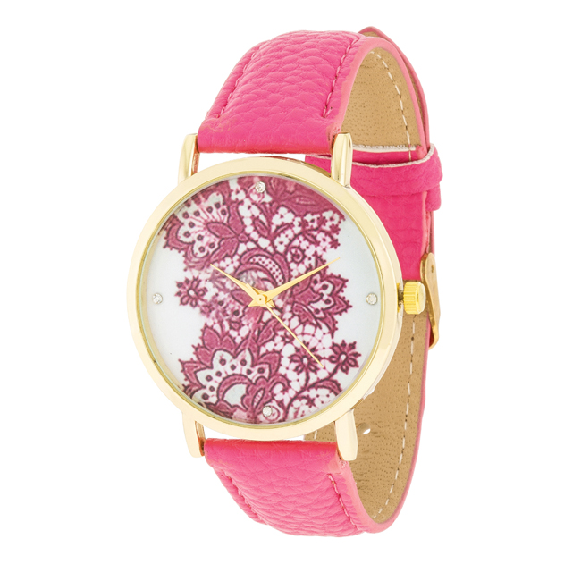 Gold Watch With Floral Print Dial White #1
