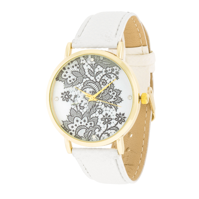 Gold Watch With Floral Print Dial White #2