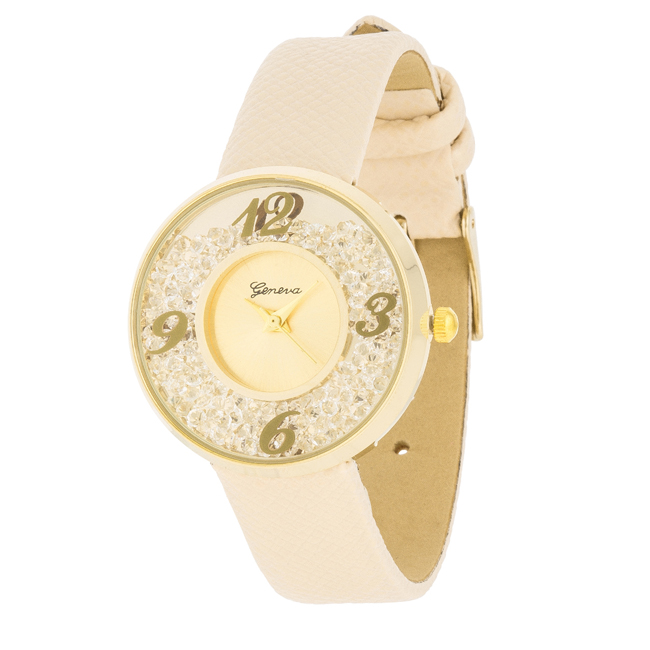 Gold Watch With Leather Strap Beige