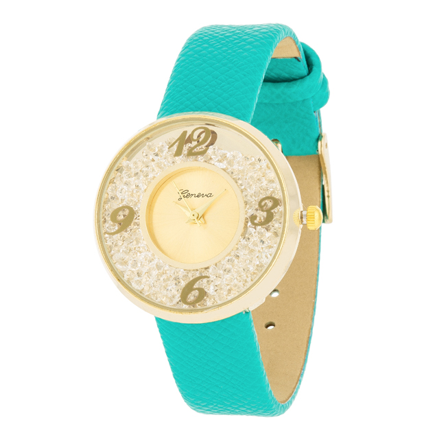 Gold Watch With Leather Strap Mint