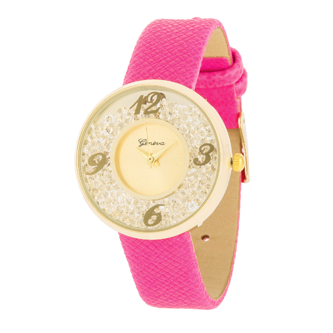 Gold Watch With Leather Strap Pink