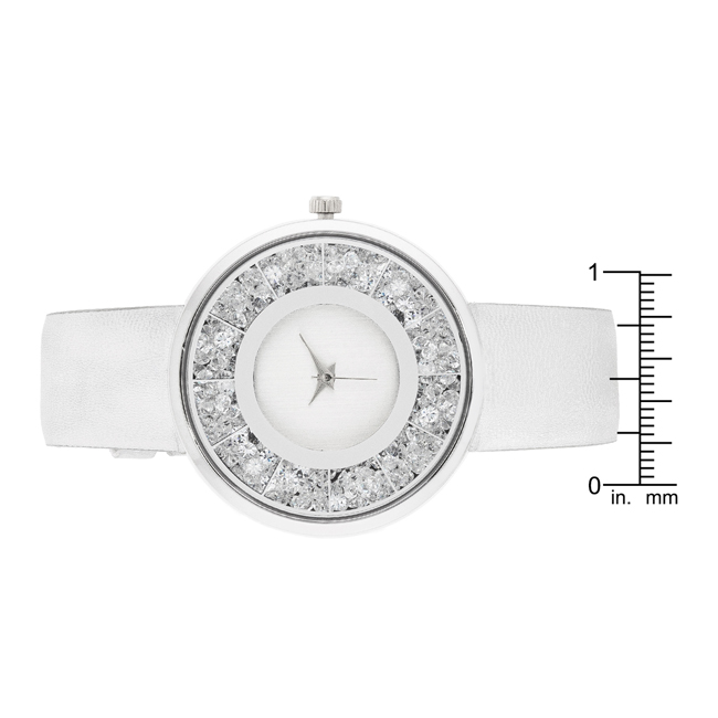 Silver Leather Watch With Crystals