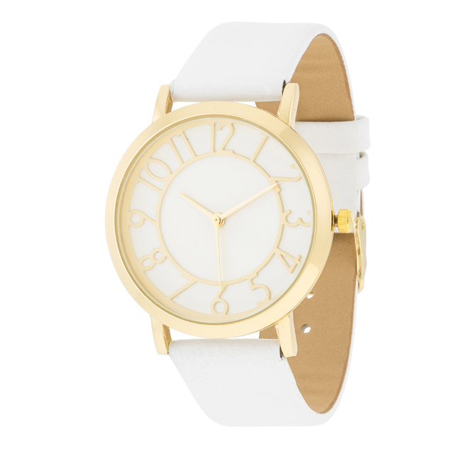 Gold Watch With White Leather Strap #2