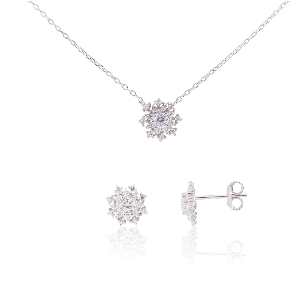"Sterling Silver Delicate Snowflake Necklace 18"" and Earring Set #1"