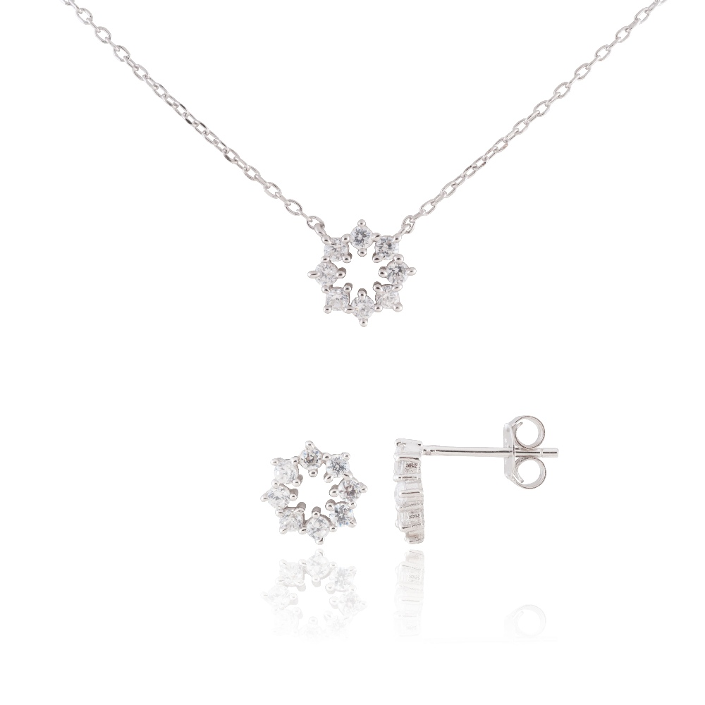 "Sterling Silver Delicate Snowflake Necklace 18"" and Earring Set #2"