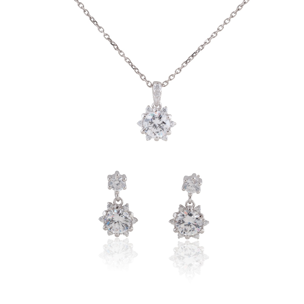 "Sterling Silver Delicate Snowflake Necklace 18"" and Earring Set #3"