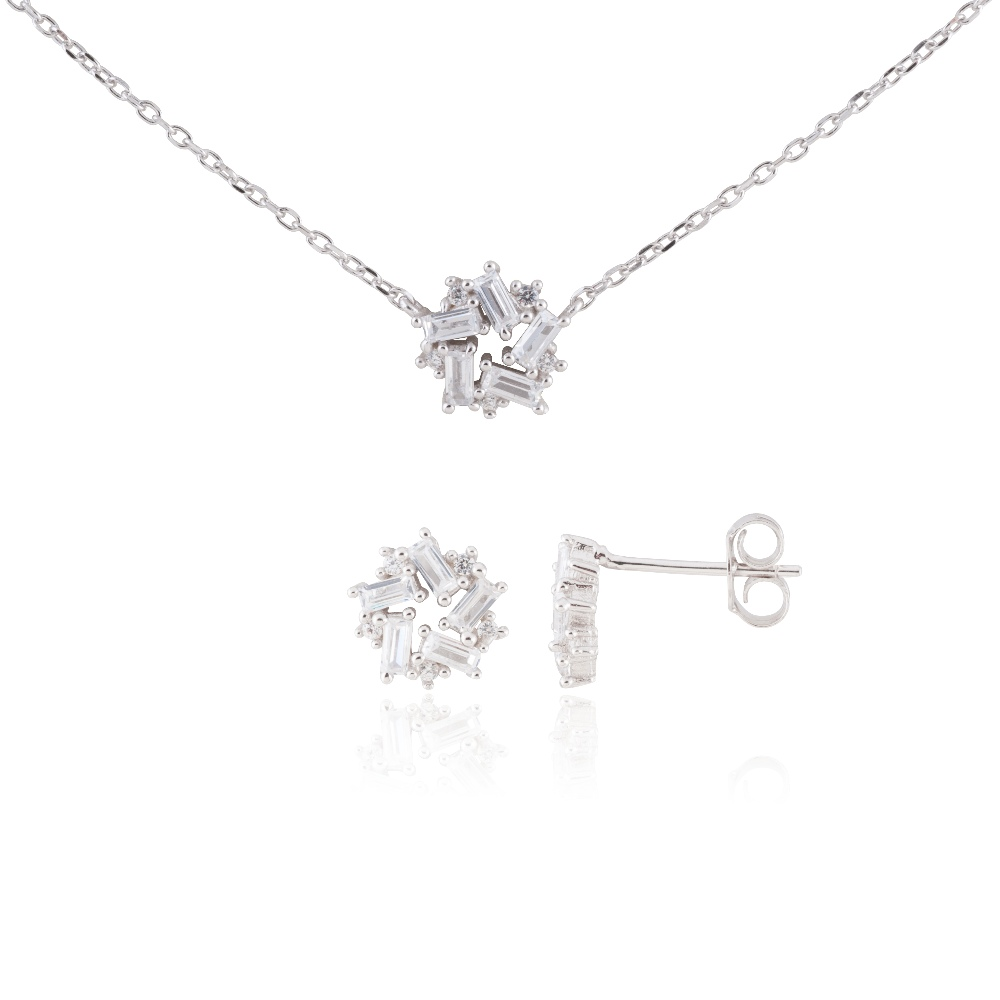 "Sterling Silver Delicate Snowflake Necklace 18"" and Earring Set #4"