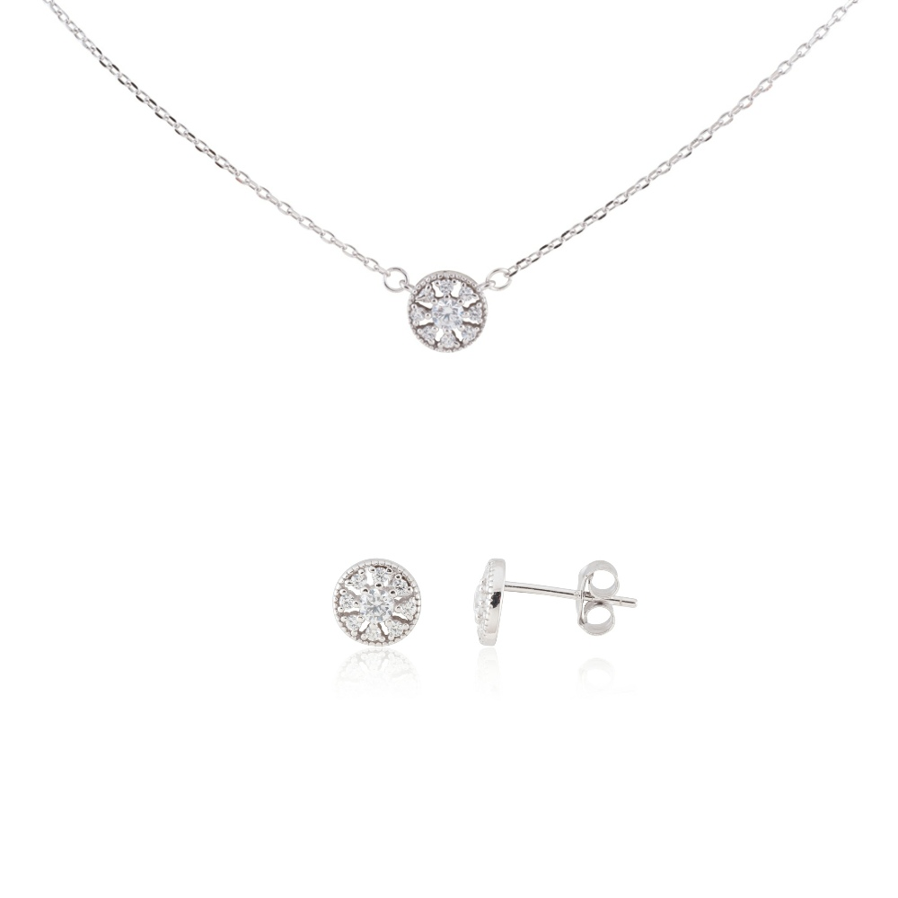 "Sterling Silver Delicate Snowflake Necklace 18"" and Earring Set #5"